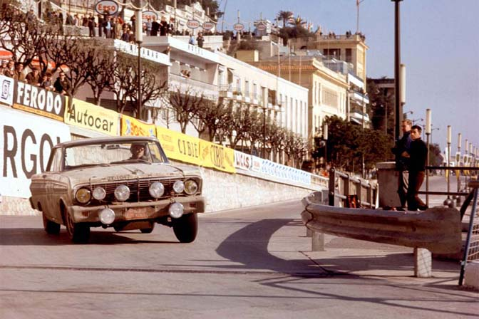 Monte Carlo Rally, Monte Carlo, Monaco, 1964. Winning Ford Falcon races through the streets of Monaco. CD#CC0828A12A203_1